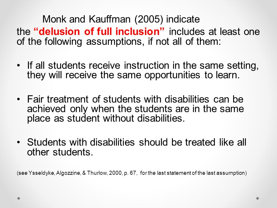 Students with disabilities should be treated like all other students.