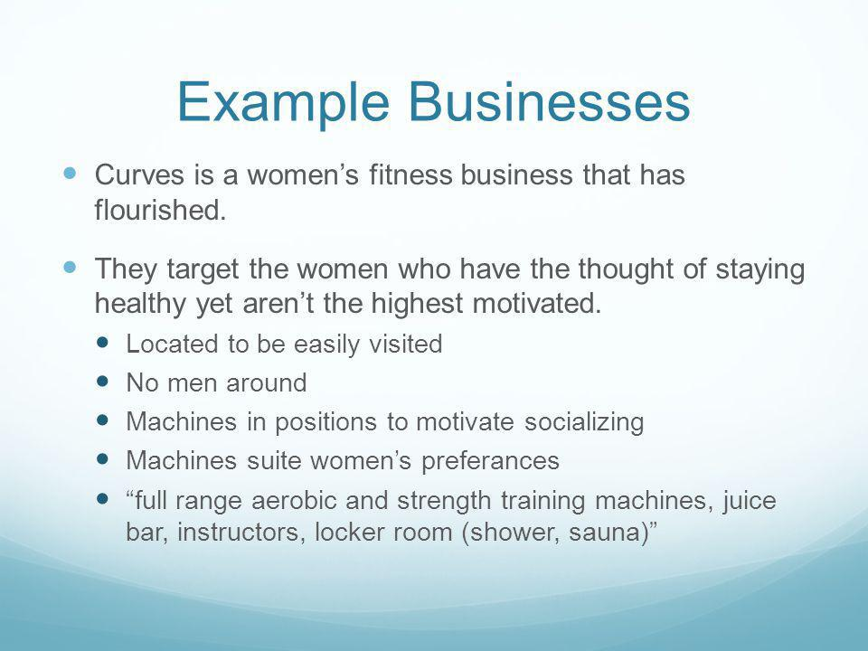 Example Businesses Curves is a women's fitness business that has flourished.