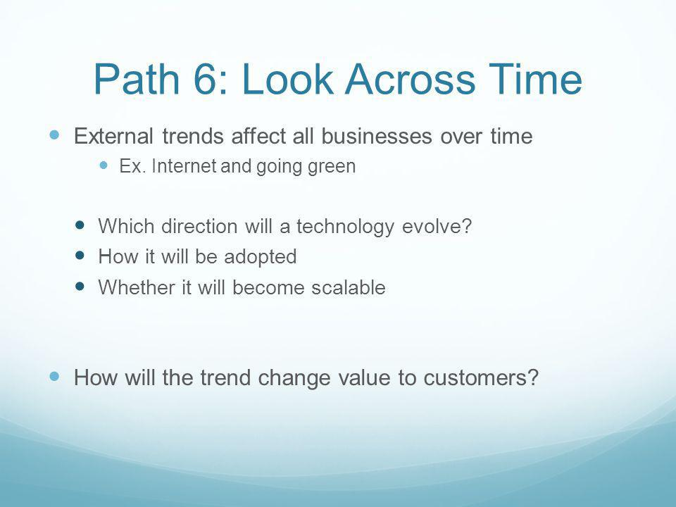Path 6: Look Across Time External trends affect all businesses over time. Ex. Internet and going green.