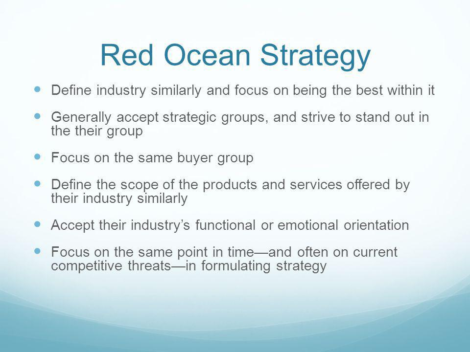 Red Ocean Strategy Define industry similarly and focus on being the best within it.