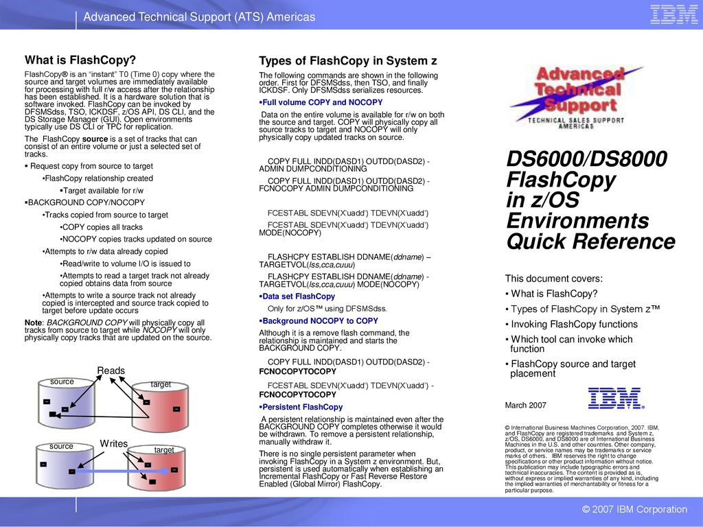 DS6000/DS8000 FlashCopy in z/OS Environments Quick Reference