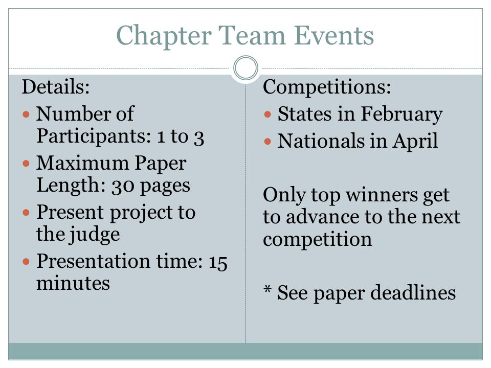 Chapter Team Events Details: Number of Participants: 1 to 3