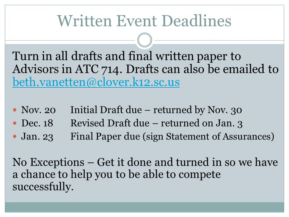 Written Event Deadlines