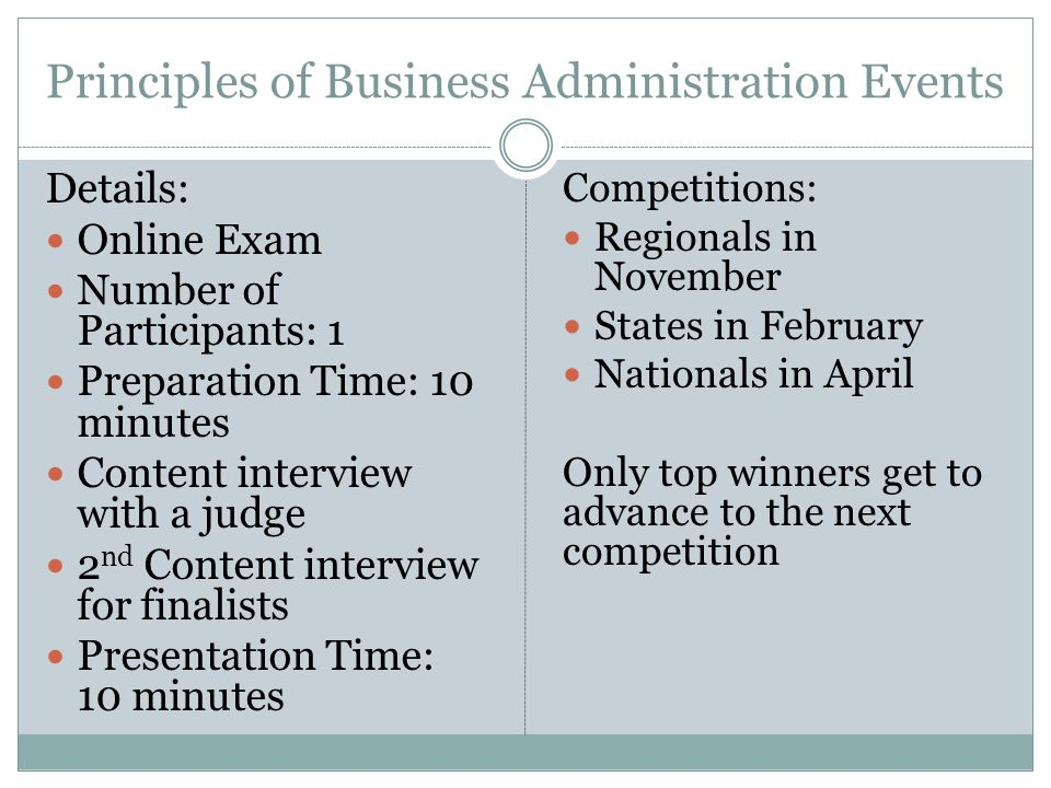 Principles of Business Administration Events