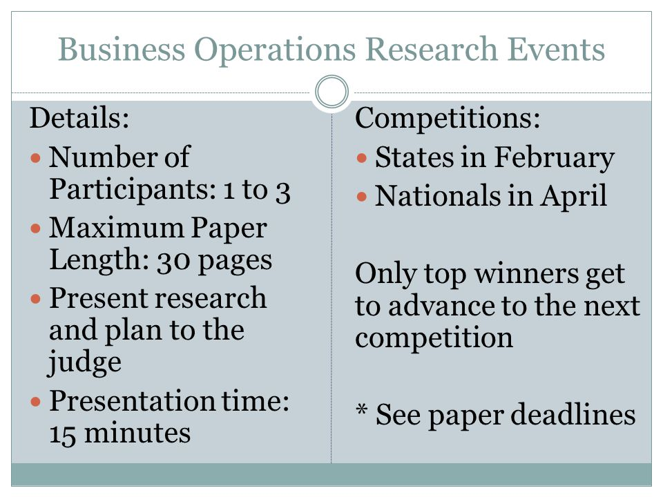 Business Operations Research Events