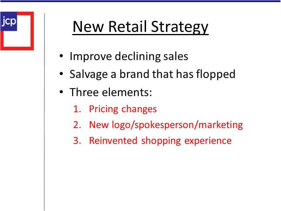 New Retail Strategy Improve declining sales