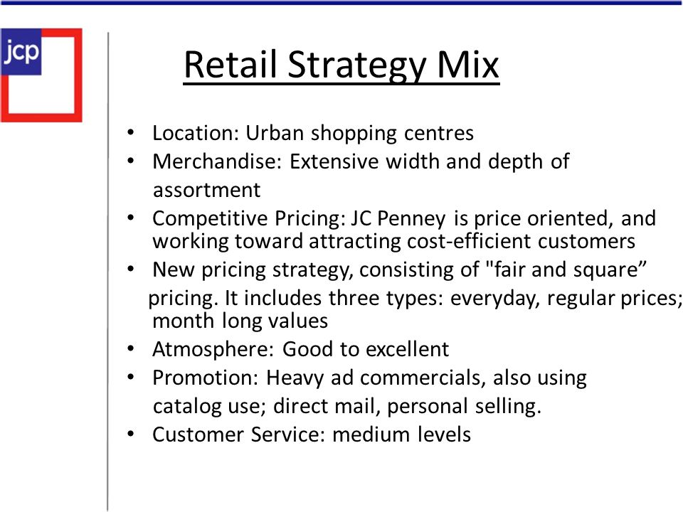 Retail Strategy Mix Location: Urban shopping centres