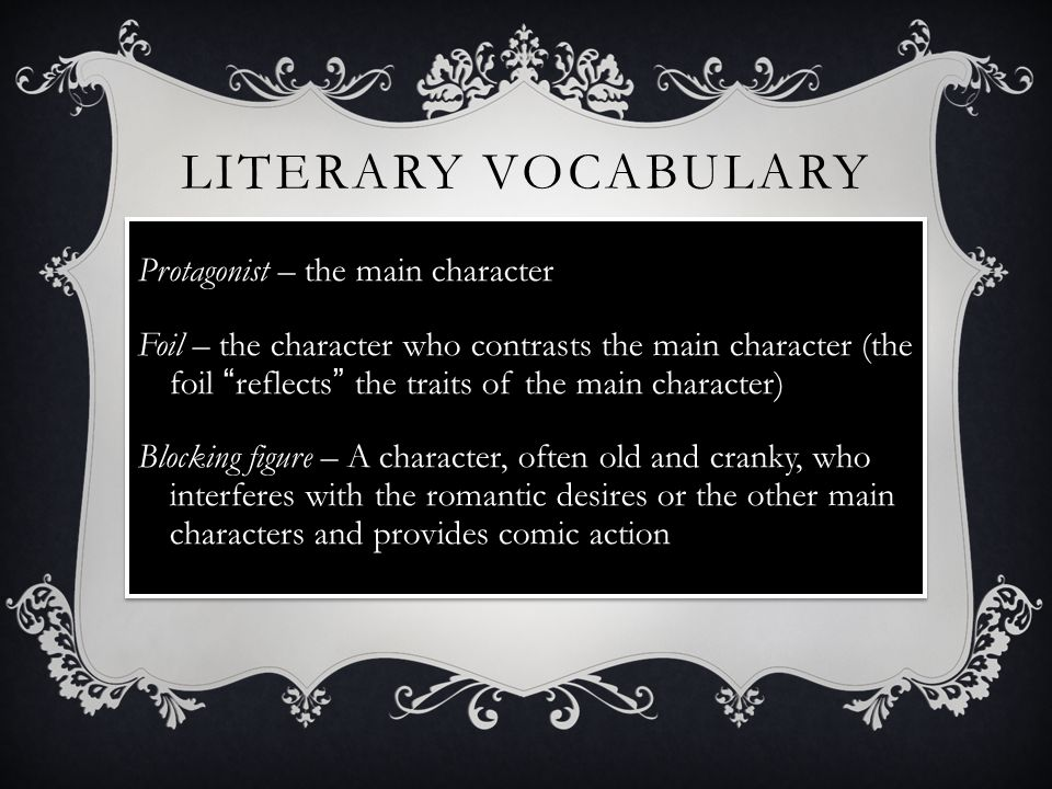 Literary Vocabulary Protagonist – the main character