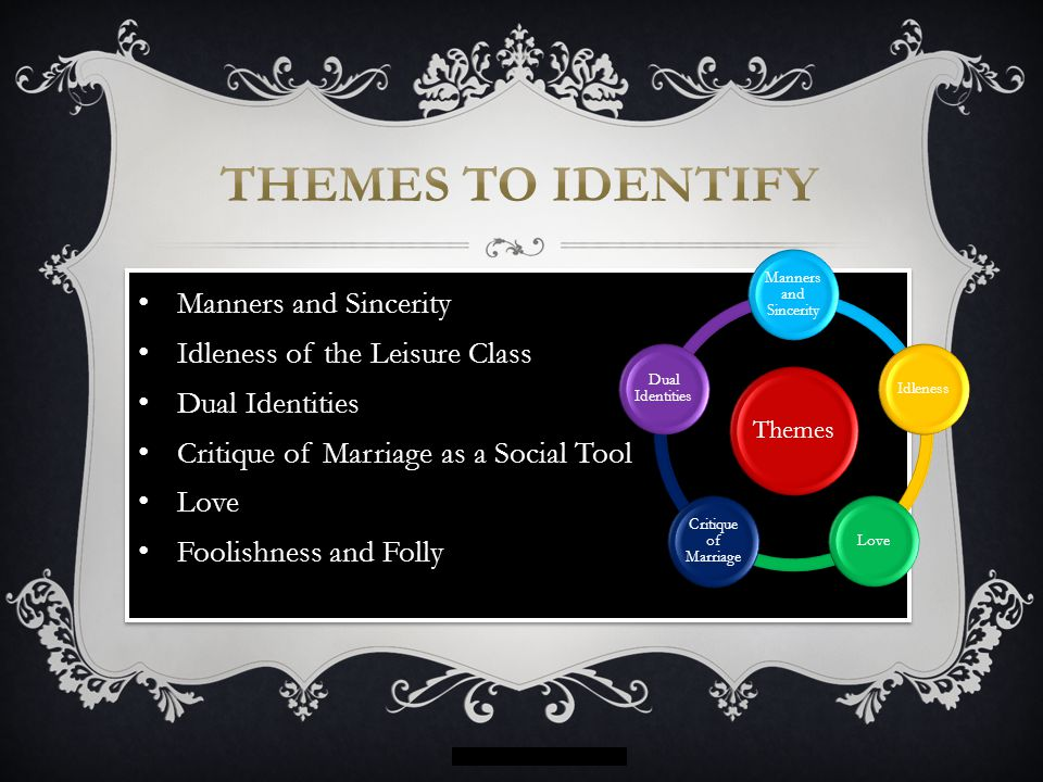Themes to Identify Manners and Sincerity Idleness of the Leisure Class