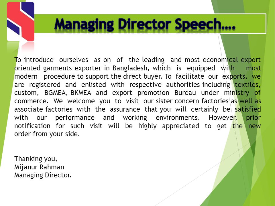 Managing Director Speech….