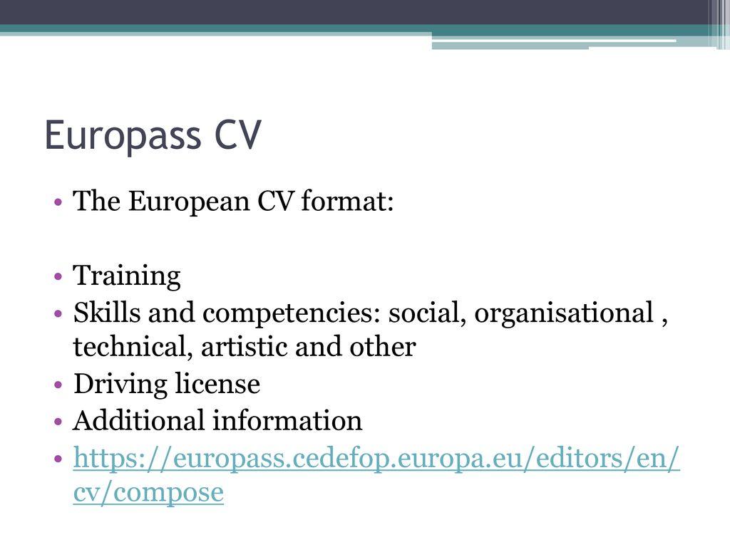 15 europass cv the european cv format training