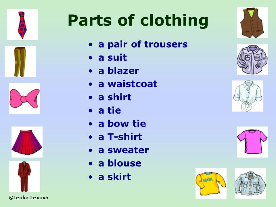 Parts of clothing a pair of trousers a suit a blazer a waistcoat