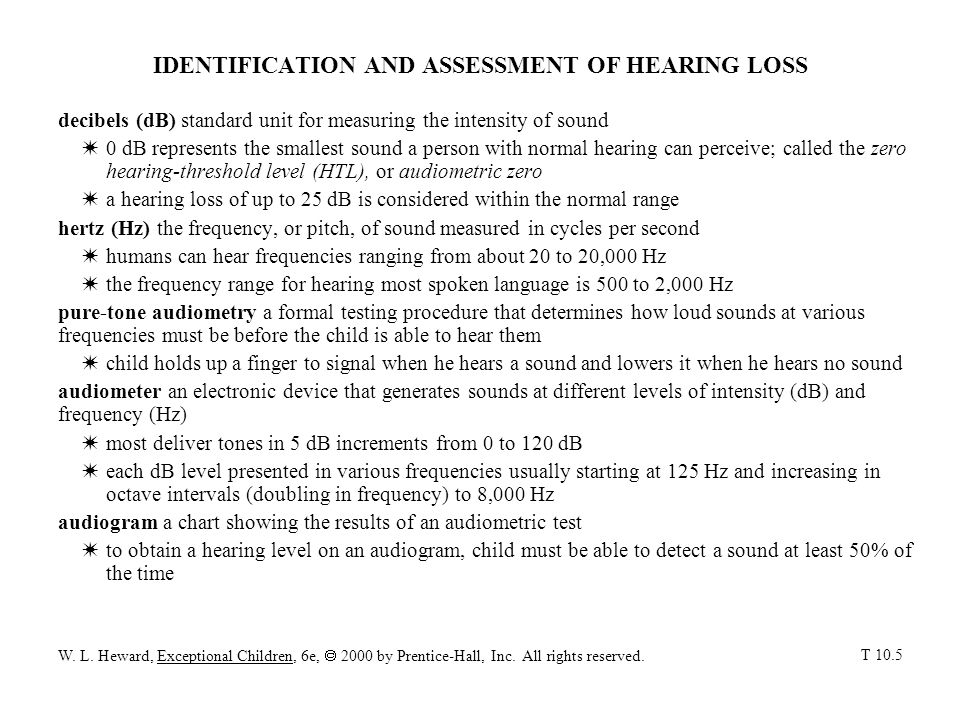 IDENTIFICATION AND ASSESSMENT OF HEARING LOSS