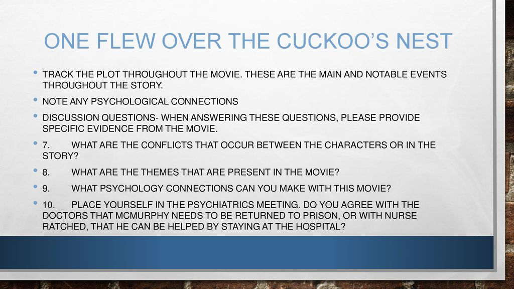discussion questions for one flew over the cuckoos nest
