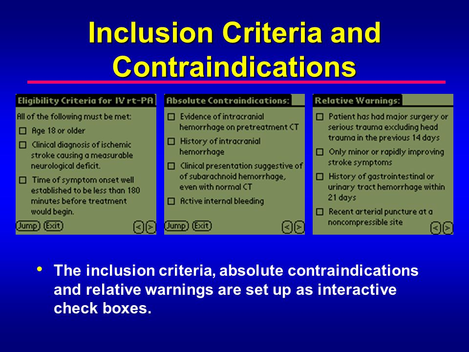 Inclusion Criteria and Contraindications