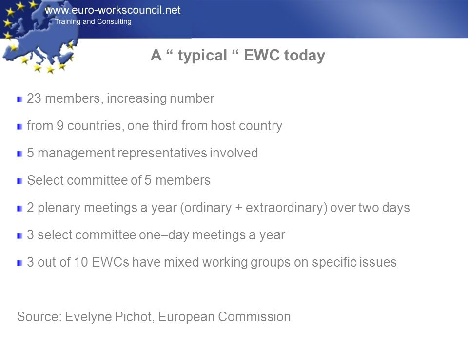 A typical EWC today 23 members, increasing number