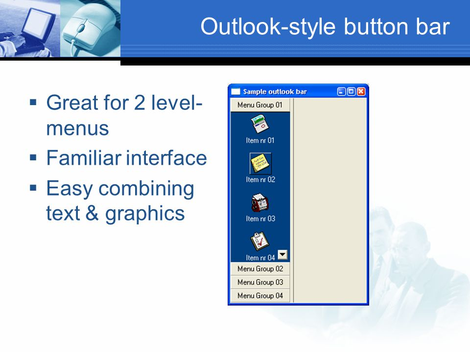 Outlook-style button bar