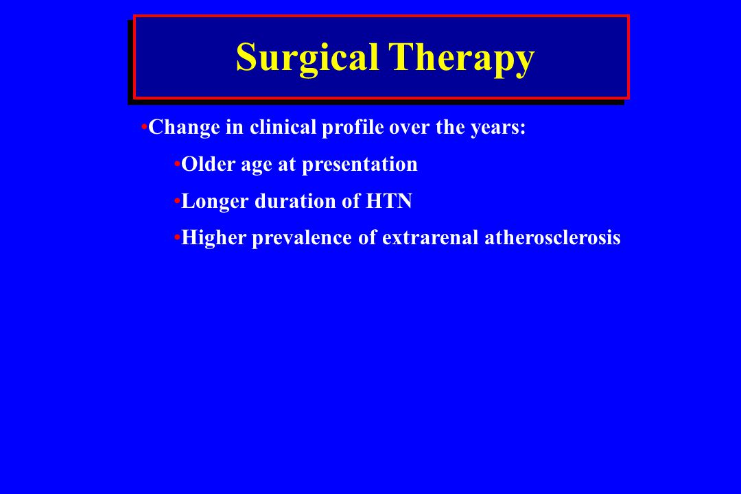 Surgical Therapy Change in clinical profile over the years: