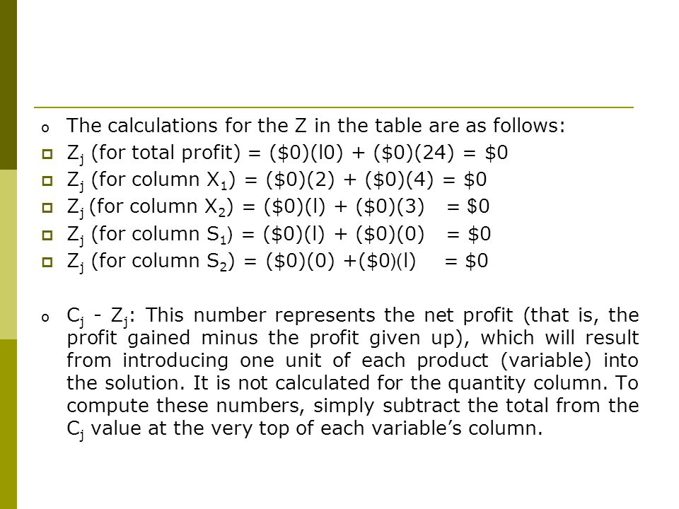 The calculations for the Z in the table are as follows: