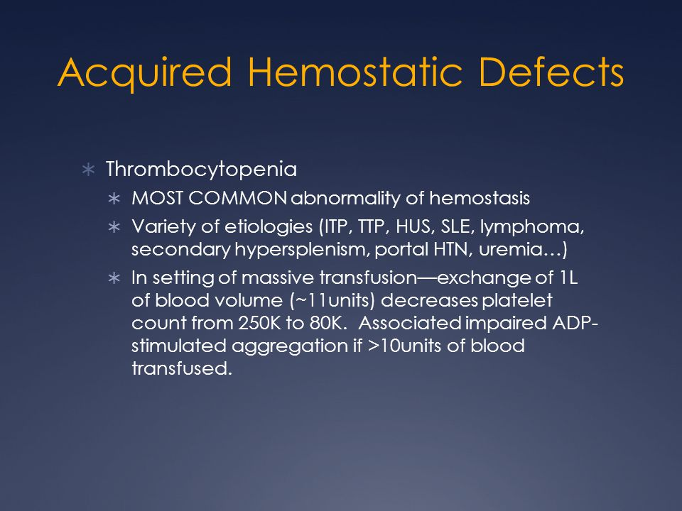 Acquired Hemostatic Defects