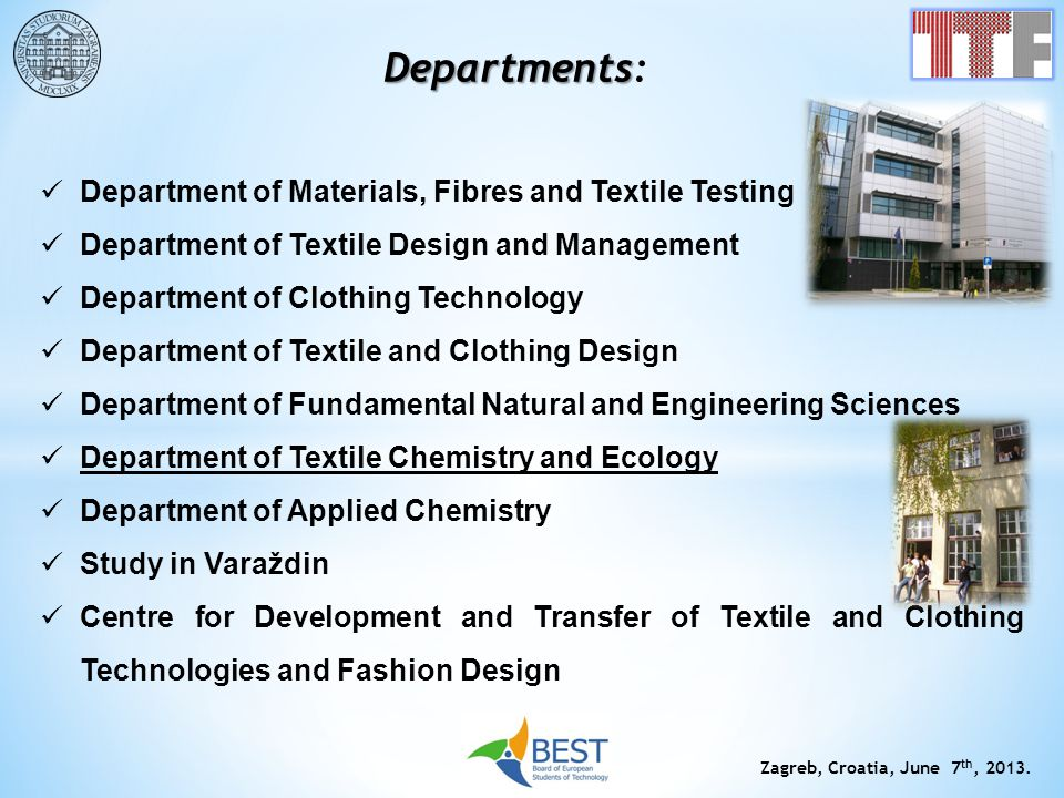 Departments: Department of Materials, Fibres and Textile Testing
