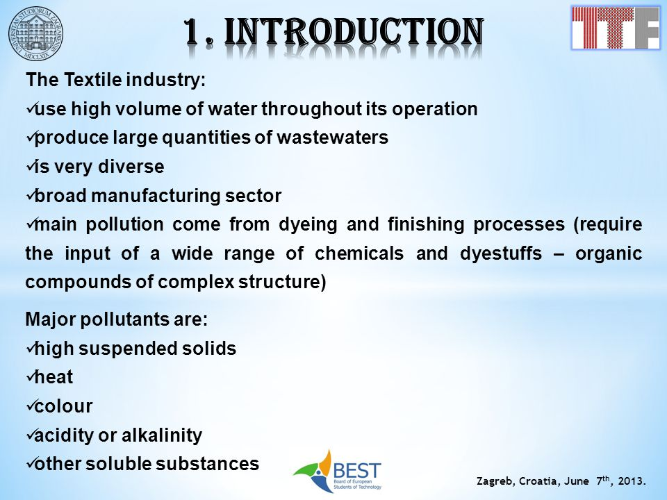 1. INTRODUCTION The Textile industry: