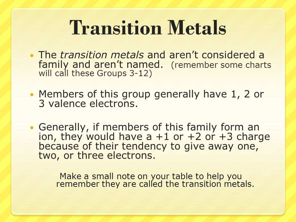 Transition Metals The transition metals and aren't considered a family and aren't named. (remember some charts will call these Groups 3-12)