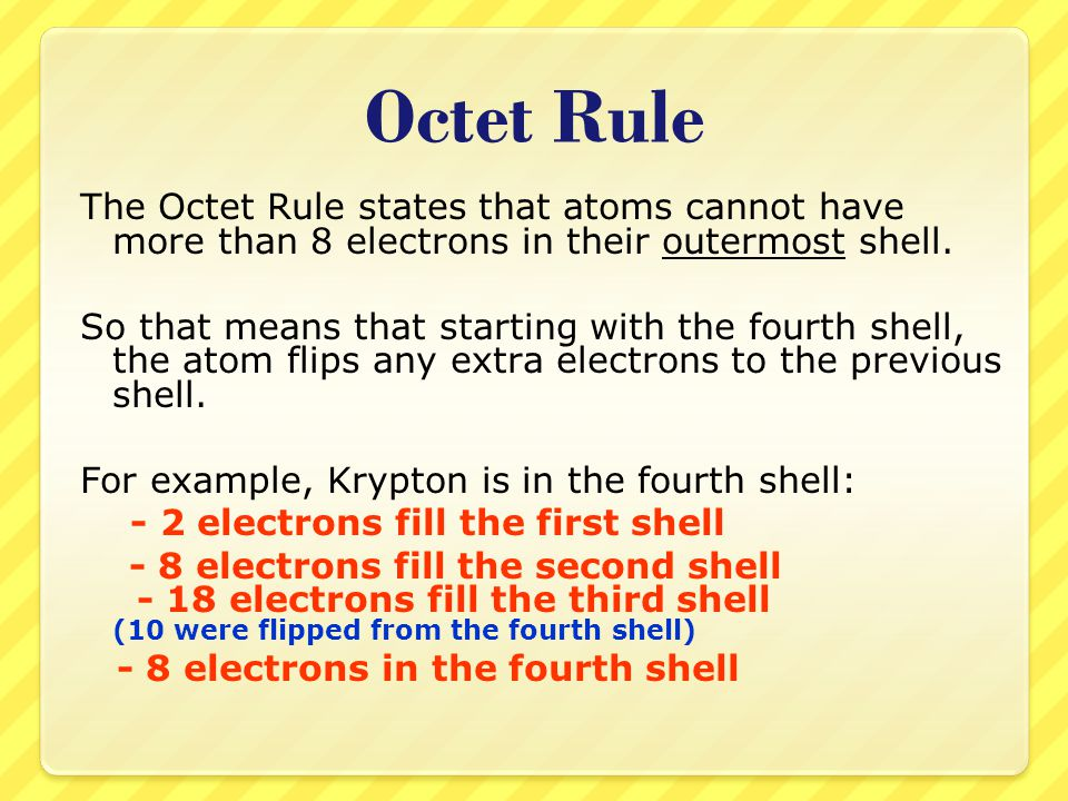 Octet Rule The Octet Rule states that atoms cannot have more than 8 electrons in their outermost shell.