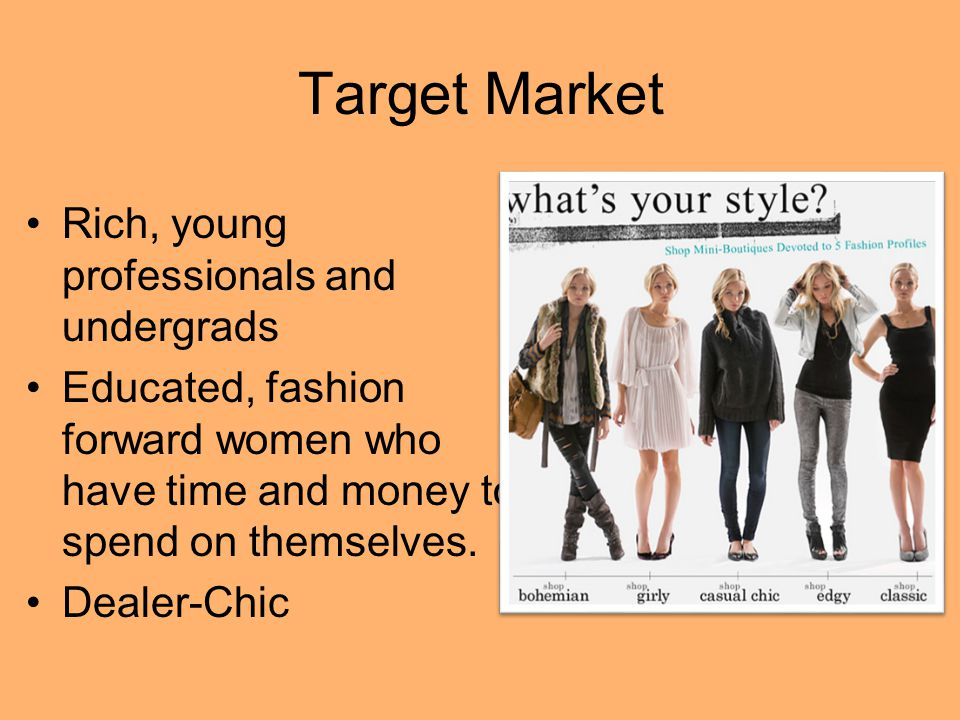 Target Market Rich, young professionals and undergrads