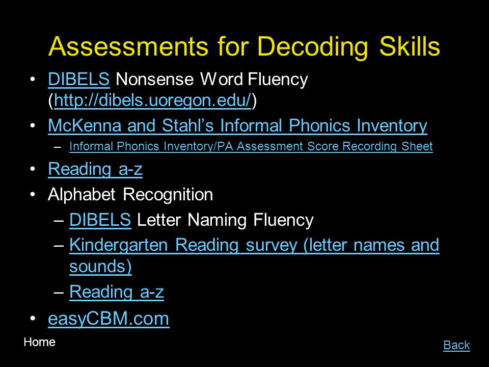 Assessments for Decoding Skills