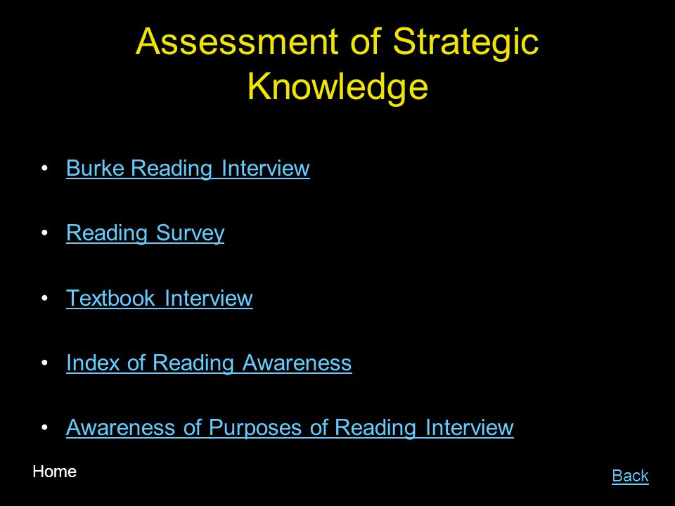 Assessment of Strategic Knowledge