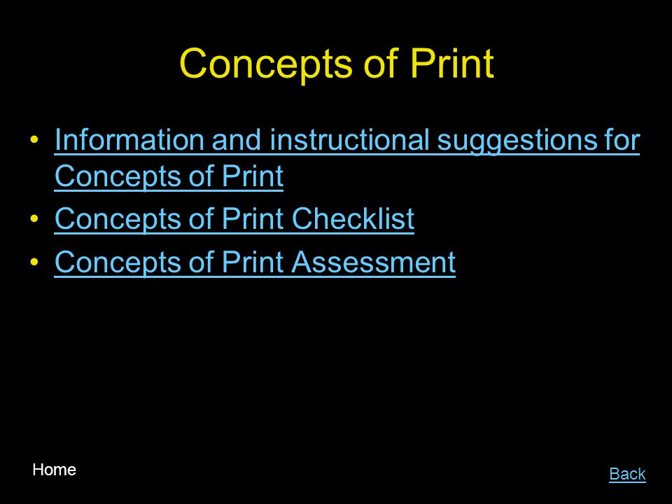 Concepts of Print Information and instructional suggestions for Concepts of Print. Concepts of Print Checklist.