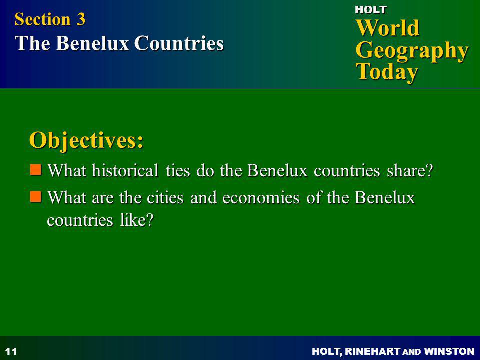 Objectives: Section 3 The Benelux Countries