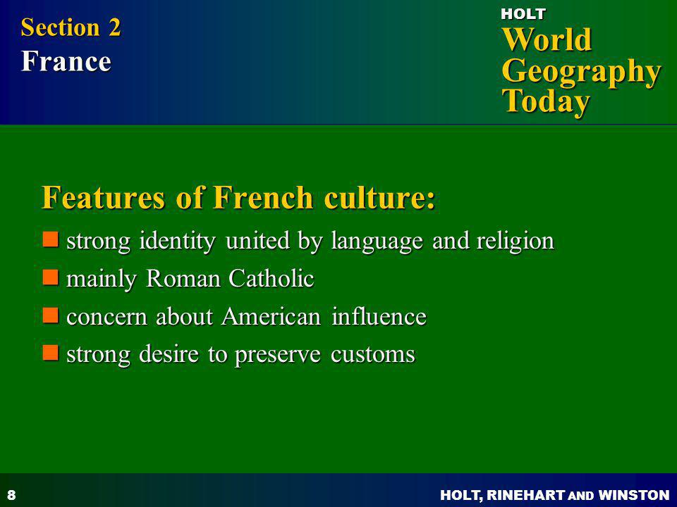 Features of French culture:
