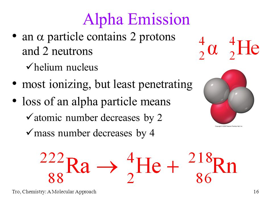 Alpha Emission an  particle contains 2 protons and 2 neutrons