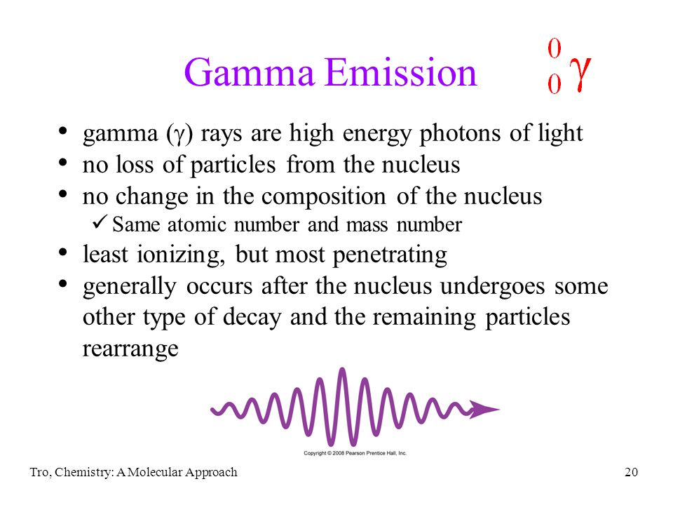 Gamma Emission gamma (g) rays are high energy photons of light