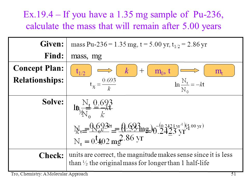 Ex.19.4 – If you have a 1.35 mg sample of Pu-236, calculate the mass that will remain after 5.00 years