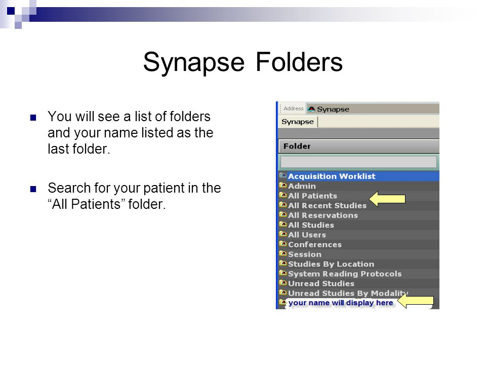 Synapse Folders You will see a list of folders and your name listed as the last folder.