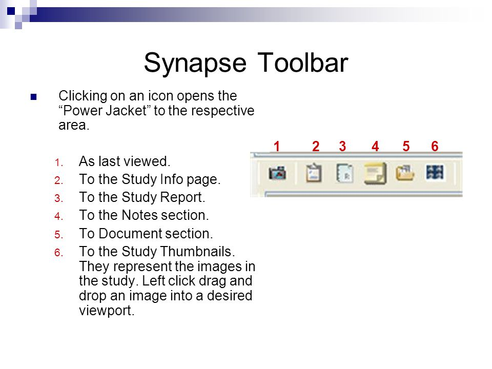Synapse Toolbar Clicking on an icon opens the Power Jacket to the respective area. As last viewed.