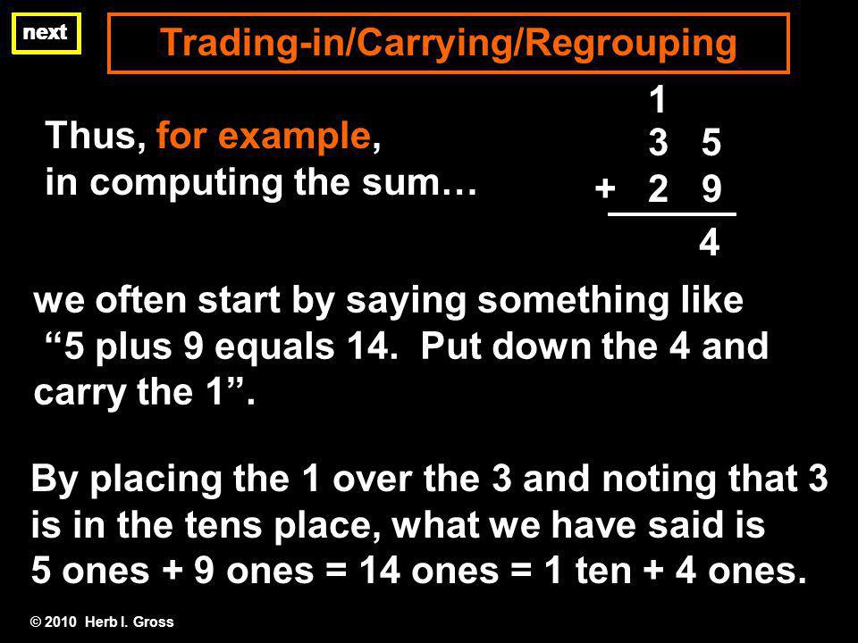 Trading-in/Carrying/Regrouping