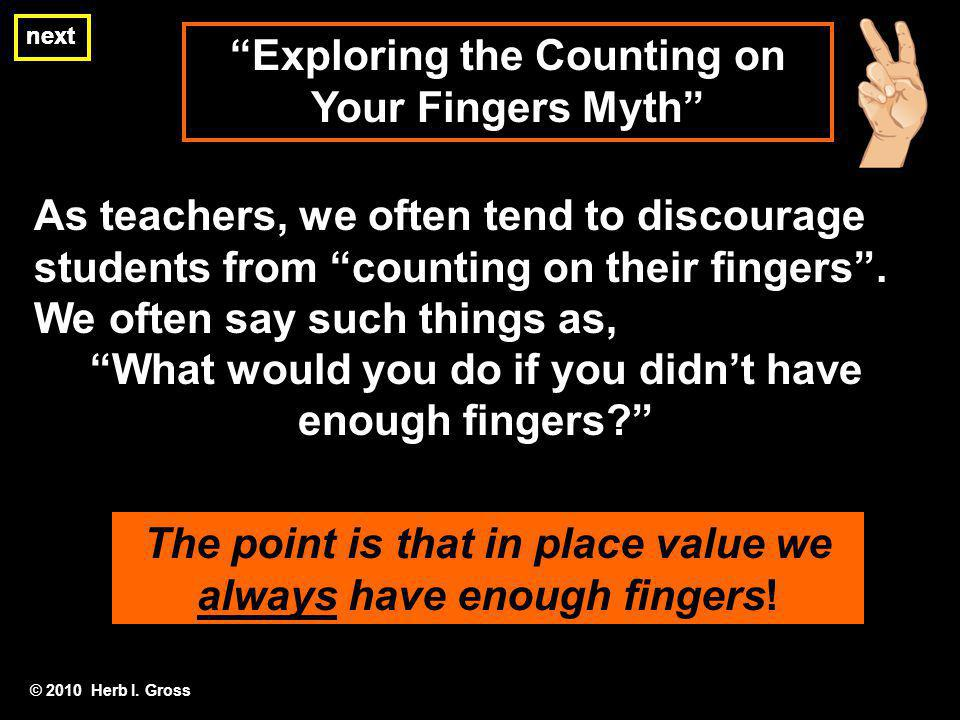Exploring the Counting on Your Fingers Myth