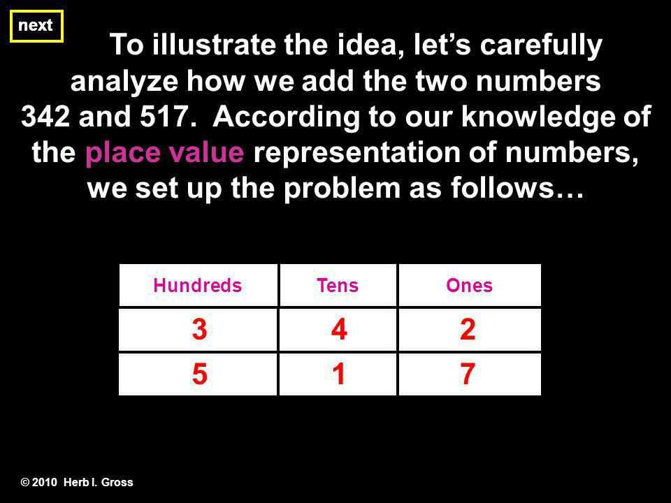 next next. To illustrate the idea, let's carefully analyze how we add the two numbers.