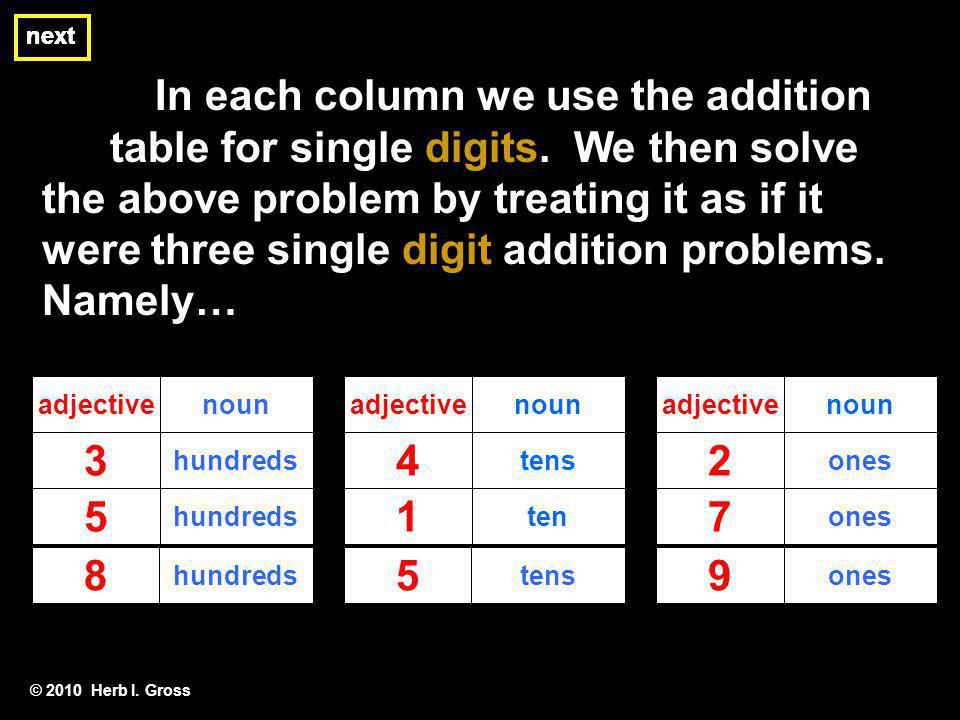 next next. next. In each column we use the addition table for single digits. We then solve.