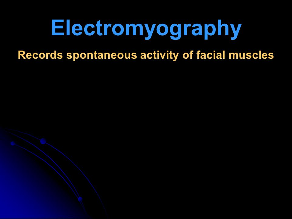 Records spontaneous activity of facial muscles
