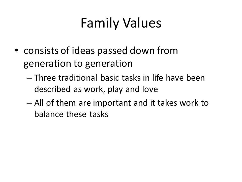 Family Values consists of ideas passed down from generation to generation.