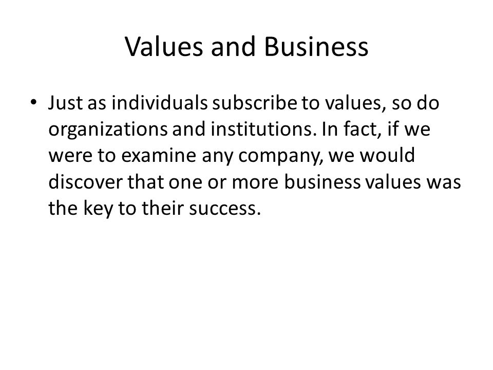 Values and Business