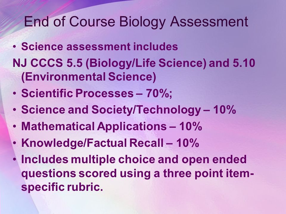 End of Course Biology Assessment