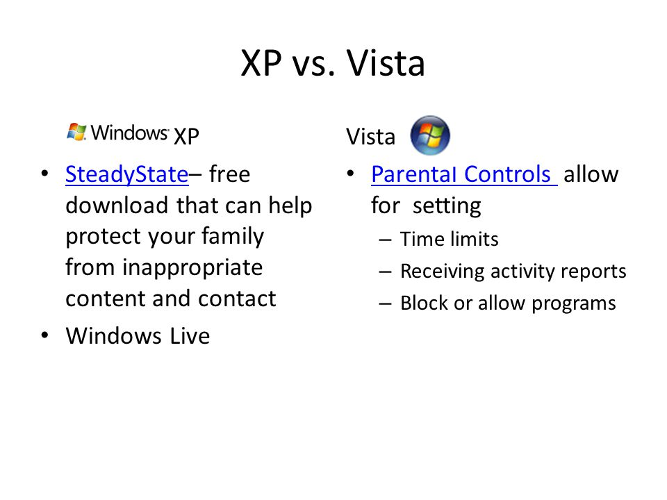 XP vs. Vista XP. SteadyState– free download that can help protect your family from inappropriate content and contact.