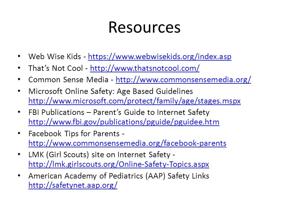 Resources Web Wise Kids - https://www.webwisekids.org/index.asp