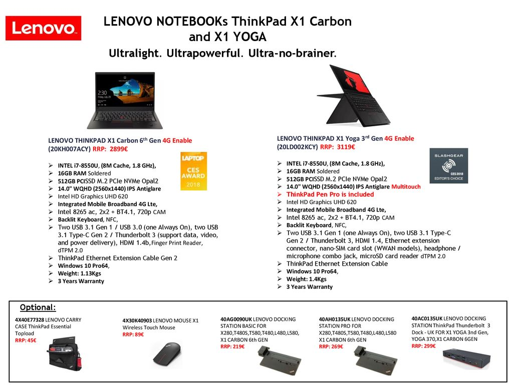 Lenovo ThinkPad Notebooks - ppt download